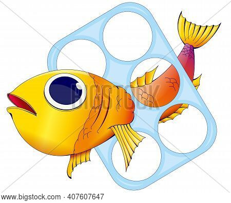 Red And Yellow Fish Trapped Inside A Plastic Ring To Hold Beer Cans On White Background. Vector Imag