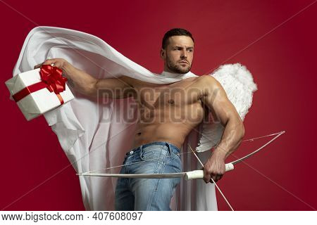 Valentines Day Concept. Sexy Male Angel. Handsome Athlete Man With Angels Wings. Cupid. Amour. Febru