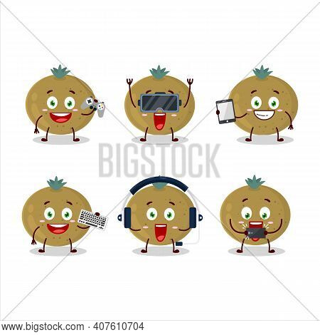Ceylon Gooseberry Cartoon Character Are Playing Games With Various Cute Emoticons