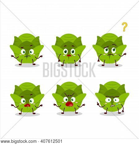 Cartoon Character Of Savoy Cabbage With What Expression