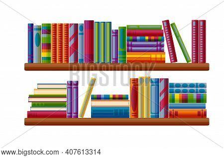 Bookcase Shelves Set. Bestseller Bookshop In Cartoon Style. Vector Illustration Isolated On White Ba