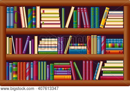 Bookcase In The Library. Bestseller Bookshop In Cartoon Style. Vector Illustration Isolated On White