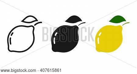 3 Types Of Fruit Icons. Limon. Outline, Silhouette, And Color Option.editable Stroke.