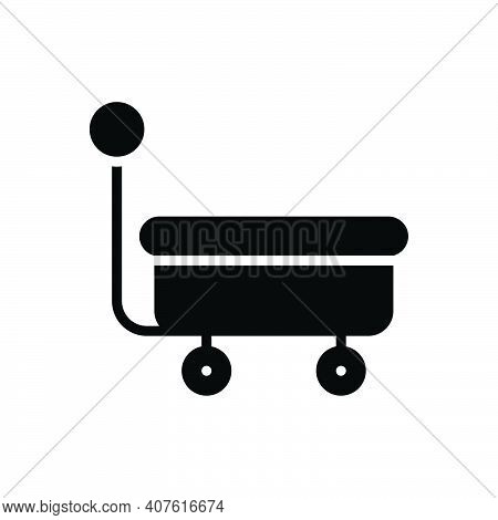 Black Solid Icon For Wagon Caravan Cart Carriage Trolley Mine Bogie Mine-trolley