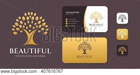 Beautiful Luxury Premium Tree Life Logo Design With Business Card. Logo Can Be Used For Decoration,