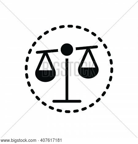Black Solid Icon For Integrity Honesty Probity Honor Justice Magistrate Balance Equilibrium