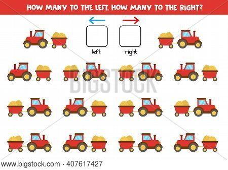 Left Or Right With Cartoon Red Tractor With Hey And Trailer. Educational Game To Learn Left And Righ