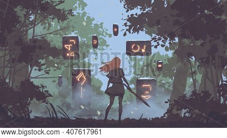 Woman With Her Sword Looking At The Mysterious Floating Stones In The Forest, Digital Art Style, Ill