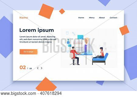 Man And Woman Browsing Internet For Medical Website Vector Illustration. Medical Service, Electronic