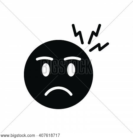 Black Solid Icon For Worry Disquietness Angry Anguished Apprehension Problem Tension