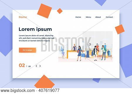 People Buying Clothes And Carrying Shopping Bags In Shop. Fashion Outlet, Boutique Concept. Vector I