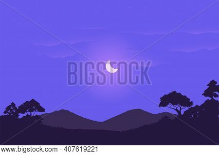 Vector Illustration Of Savanna Landscape At Night In Africa. Background Design Concept Of The Wild W