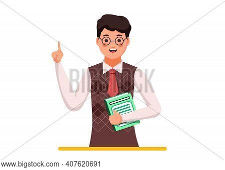 Cartoon Male Teacher. School Teacher With Glasses, Male Teacher.
