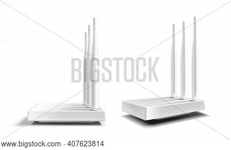 Wifi Router, Wireless Broadband Modem With Antennas Isolated On White Background. Vector Realistic M
