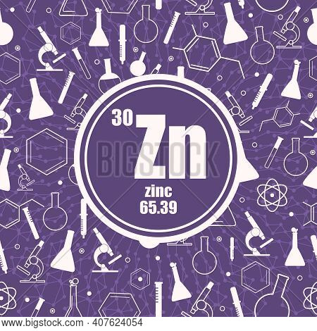 Zinc Chemical Element. Sign With Atomic Number And Atomic Weight. Chemical Element Of Periodic Table
