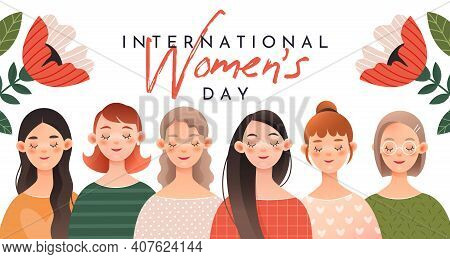 A Group Of Cute Girls. Greeting Postcard For International Women's Day (march 8).