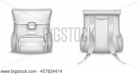 White Backpack, School Or Travel Rucksack In Front And Back View. Vector Realistic Mockup Of Blank L
