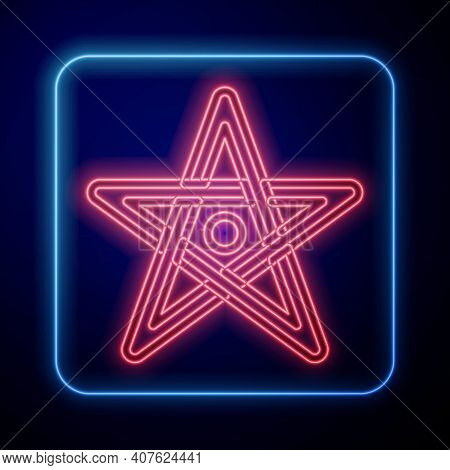 Glowing Neon Pentagram Icon Isolated On Black Background. Magic Occult Star Symbol. Vector