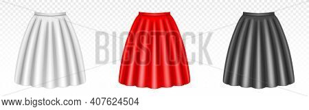 White, Red And Black Women Skirts With Foldes Isolated On Transparent Background. Vector Realistic M