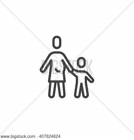 Mother And Child Holds Hands Line Icon. Linear Style Sign For Mobile Concept And Web Design. Mum And