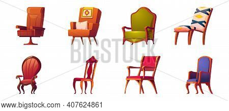 Armchairs For Office And Home Interior Isolated On White Background. Vector Cartoon Set Of Wooden Ch