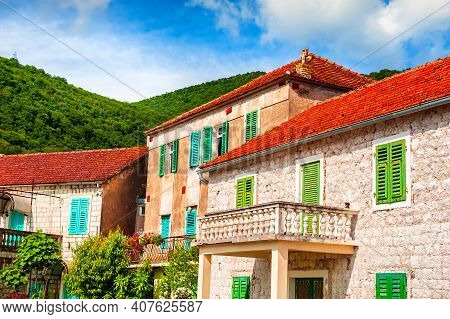 Old Architecture With Red Tile Roofs In Tivat, Montenegro. Summer Landscape. Famous Travel Destinati