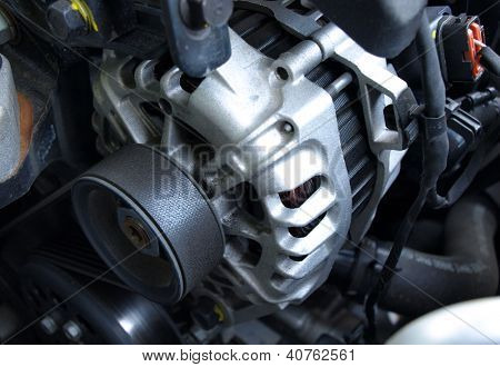 Car alternator close-up