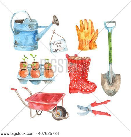 Time To Gardening Watercolor Pictograms Composition Of Watering Pot And Seedlings To Plant Abstract