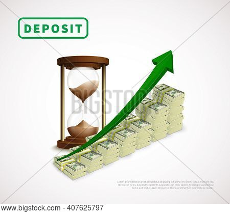 Money Prosperity Realistic Business Template With Dollar Banknotes Stacks Rising Arrow And Hourglass