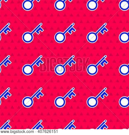 Blue Old Key Icon Isolated Seamless Pattern On Red Background. Vector