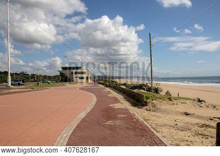 Paved Promenade Walkway At Durban\'s Golden Mile On Beachfront