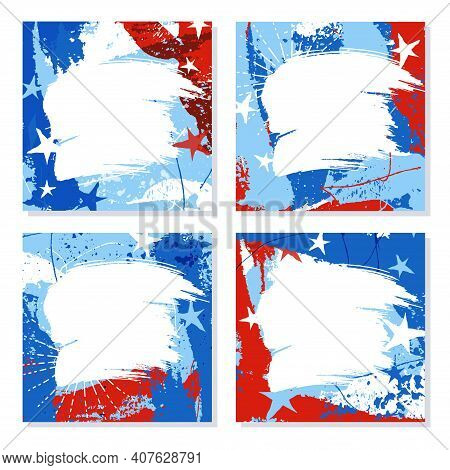 Set Of Red, White And Blue Patriotic Design Templates With Space For Text Or Photo. Square Format Fo