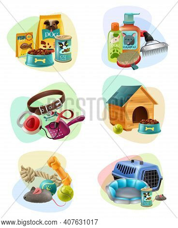 Affordable Pet Care Service Concept 6 Colorful Icons Collection With Dry Dog Food And Treats Isolate
