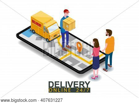 Isometric Fast Express And Delivery. Courier Shipping To Couple Woman And Man A Cardboard Box. Free