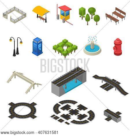 City Isometric Objects. City Icons Set. City Vector Illustration.city Map Symbols. City Design Set.