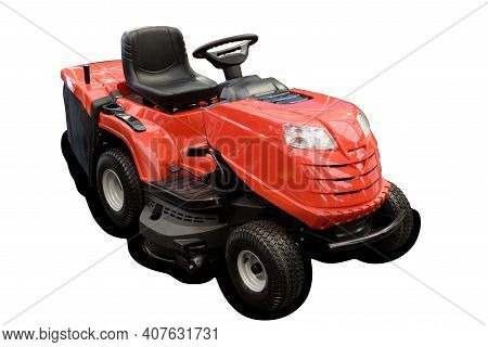 Gardening Equipment - Generic Isolated Red Tractor Mower. Png File With Transparent Background.