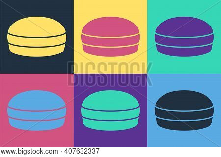 Pop Art Macaron Cookie Icon Isolated On Color Background. Macaroon Sweet Bakery. Vector