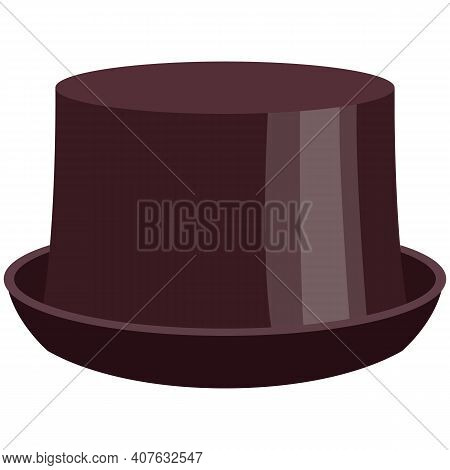 Adult Half-cylinder Hat Flat Vector Isolated On White