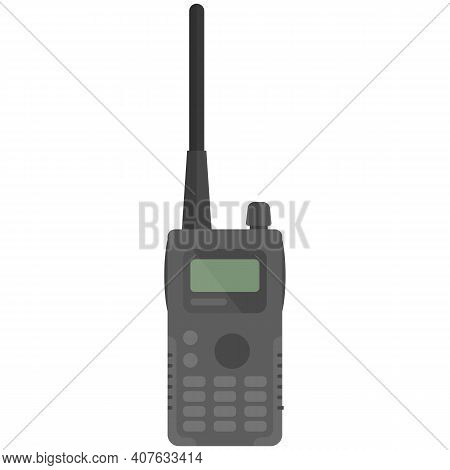 Vector Portable Handheld Police Radio Device Isolated On White