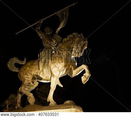 Balboa Park San Diego Statue Of Statue Of El Cid Horse With Flag