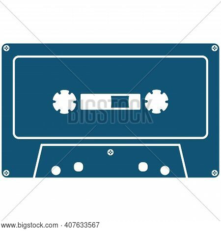 Old-fashioned Analog Cassette Vector Icon Isolated On White