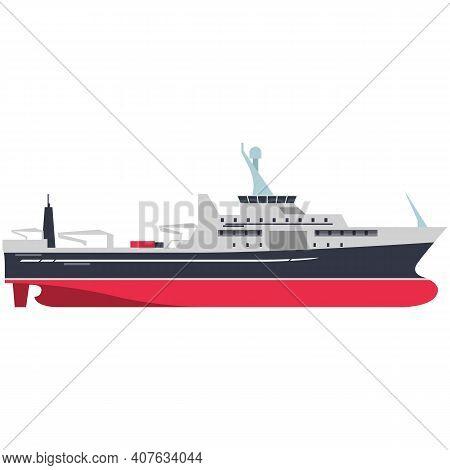 Military Warship Or Cargo Ship Isolated On White Background