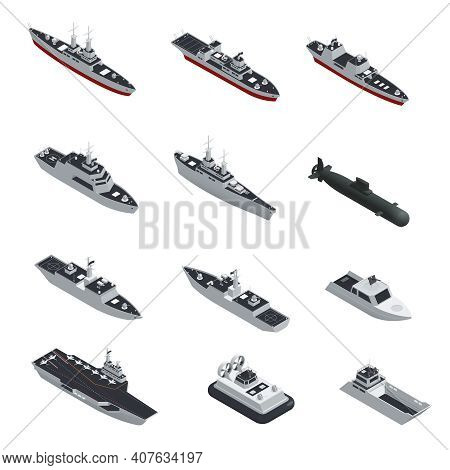 Dark Color Military Boats Isometric Isolated Icon Set For Different Types Of Troops Vector Illustrat