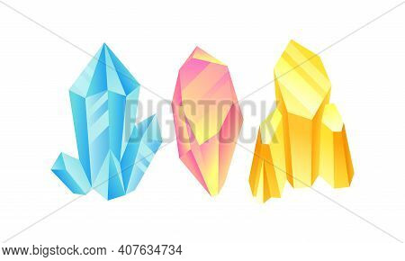 Colorful Crystal Or Crystalline Solid Forming Geometrical Shape Vector Set