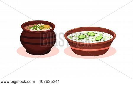 Soups Served In Ceramic Bowl Or Pot And Garnished With Potherb Vector Set
