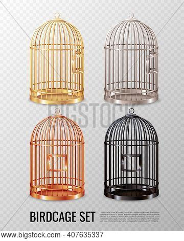 Set Of Empty Closed Canary Birdcage Of Various Color On Transparent Background 3d Design Isolated Ve