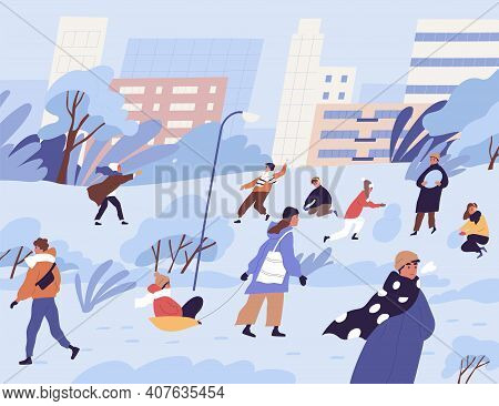 Winter City Park Or Street With Happy People Playing Snowballs, Making Snowman From Snow And Walking