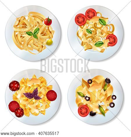 Delicious Pasta Dishes With Sauce Pepperoni Tomatoes Olives And Herbs Realistic Set Isolated On Whit