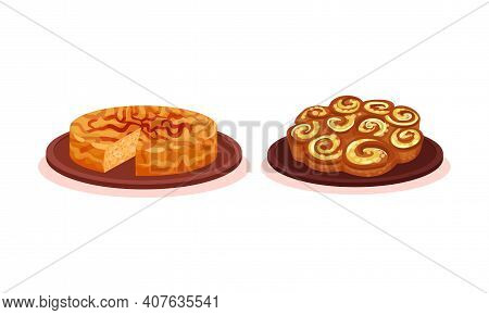 Sweet Pie And Baked Bun As Sugary Pastry Vector Set