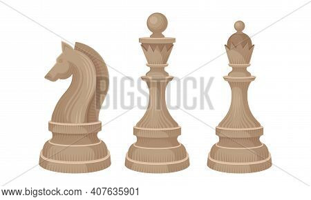White Chess Piece Or Chessman With King And Knight Vector Set